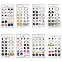 12Pairs set Stud Fashion Butterfly Heart Flower Shape Crystal Piercing Ball Earring Kit Female Charm Jewelry Gift