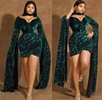 2021 Plus Size Arabic Aso Ebi Gree Sparkly Sexy Prom Dresses Sequined Short Long Sleeves Evening Formal Party Second Reception Gowns ZJ255