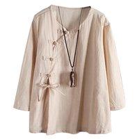 Und Sommer-Langarm-Baumwollwäsche-Leinen-Hemd-Hemd-Famal-Bluse Top komfortables antikes Hemd