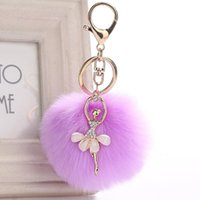 Keychains Cute Rhinestone Little Angel Car Keychain Fake Fur Key Chain Women Trinket Bag Ring Jewelry Gift Fluff