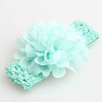 Favorito de la fiesta Baby Headwear Head Flower Accesorios para el cabello de 4 pulgadas de flores de gasa con ganchillo elástico suave Headbands Stretchy GWE5649
