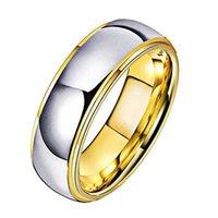 텅스텐 결혼 반지 Womens 쥬얼리 골드 망 텅스텐 카바이드 밴드 기념일 6 / 8mm 커플 링 가파른 가장자리 210310 759 Q2