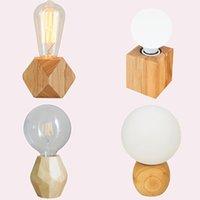 Современный ретро мини твердые древесины многогранников настольные лампы гостиной спальни стола для спальной комнаты тумбочка в штекерную линию линии E27 деревянная тафельная лампа