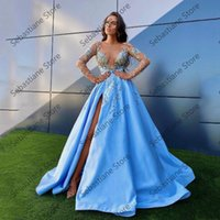Party Dresses Sky Blue Sexy Elegant Evening Long Sleeve Appliques High Split Ball Gown Women Prom Gowns Plus Size Custom Made