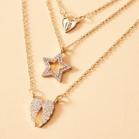 Chains Origin Summer Stylish Full Rhinestone Star Heart Angel Wing Pendant Necklaces For Women Gold Metal 3 Layed Necklace Jewelry
