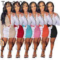 Women Tracksuits 2 Piece Dress Set Designer Long Sleeve Shirt Summer Clothing T-shirt Hollow Color Stitching Top Short Skirt S-XL 6 Colours