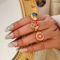 New Design Tortoise Butterfly Animal Korean Gold Enamel Yin Yang Flowers Heart Rings For Women Girls Fashion Party Jewelry