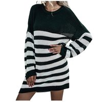 Stripe Knit Dress For Womens Long Sleeve O Neck Dresses Ladies Autumn Winter Knitting Casual