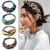Moda Floral Mujeres Diadema Accesorios Leopardo Cross Cross Anudado Banda de Pelo de Chiffon Boho Tocado Damas Hoop Headwear