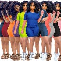 11 Цветов Женщины Cousssit 2021 Лето Круглая Шея Сплошной Цвет Короткая Рукав Шорты Два Части Наборы Женские Мода Повседневная Тонкий Спортивные наряды Yoga