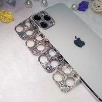 Luxus glänzend Bling Glitter Kristall Metall Diamant Zurück Kamera Objektivschutz Schutz Glasfilm für iPhone 12 11 Pro max