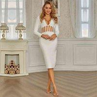 SWTAO Seksi Dantel Mesh Midi Beyaz Kadınlar Uzun Kollu Bandaj Bayanlar Zarif Bodycon Akşam Kulübü Parti Elbise Vestido 210416