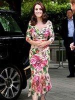 Princesa kate middleton flor estampado maxi sirena vestido vestidos plisados