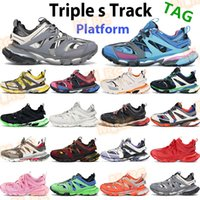 Triple S Erkek Kadın Ayakkabı Platformu Sneaker Runner Derin Mavi Gri Beyaz Turuncu Glow Koyu Pembe Sarı Mor Moda Rahat Trainers