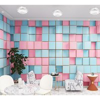 Wallpapers Nordic Macaron Color Check Square Mural Beauty Salon Nail Clothing Store Background Wallpaper Papel DE Parede Waterproof