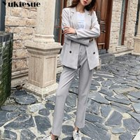 Women's Tracksuits 2021 Spring Autumn Woman Sets 2 Piece Outfits Matching Pants Casual Double Breasted Elastic Waist Suit Blazers Plus Zie