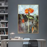 Red Flower Oil Painting Printed on Canvas Prints Landscape Wall Art Pictures for Living Room Home Decor Golden Indoor Decoration