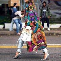 Trinchera manga completa bandench impresión abrigos casual moda abrigo mujer rompevientos exteriores vendaje largo s-5xl