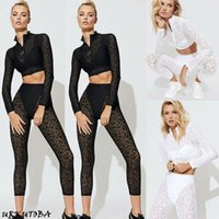 Yoga Outfits Women 2PCS Set Sports Crop Top Pants Outfit Workout Clothes Long Sleeve Solid Sportwear Female Tracksuit US