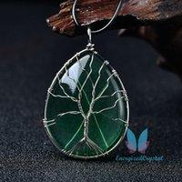 삶의 녹색 나무 보석 계란 펜던트 목걸이 치유 크리스탈 장식 선물