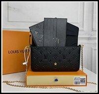 """3 Adet / takım Tasarımcılar Kadın Omuz Çantaları Luxurys Çanta Kahverengi Çiçek Messenger Zincir Kayışı Çapraz Vücut Bayanlar Flap ÇantaLV """"Louis"""" Vitton Vutton"""