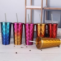 500ml Stainless Steel Coffee Tumblers With Straw Large Capacity Drinking Mugs 6 Colors Customizable Water Bottle