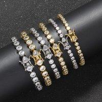 Chains 3mm 4mm 5mm Bling Brass Bracelet Tennis Chain Mirco Pave Zircon Jewelry For Men BB112