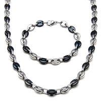 2020 collana di gioielli in acciaio inox per uomini donne caffè forma di chicco di melone catena di semi di melone collana in acciaio inox collana braccialetto gioielli set 564 Z2
