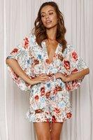 Summer Romper Macacão Mulheres V Neck Manga Botão Casual Playsuits Beach Macacões Bodysuit Shorts Dress