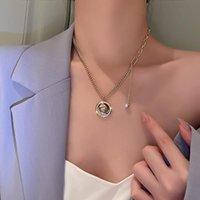 Kolye Kolye Rhinestone Kraliçe Sikke Takı Severler Trendy Kızlar Altın Renk Kolye Zinciri Kadın Collares Collier