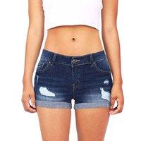 Jeans de mujer Hxroolrp mujeres azul crimping denim Pantalones cortos 2021 Verano Casual Casual Lavado Bajo Lavado Agujero Romificado Mini Womens C1