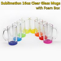Sublimation Gradient Colored 16oz Clear Glass Mugs with Handle Heat Transfer Printing Ombre Coffee Mug in Colorful Bottoms DIY Blanks Transparent Drinking Cups