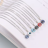 Blue Evil Eye Choker Necklaces Round Pendant Clavicle Necklace Silver Gold Disc Lucky Charm Jewelry Fashion Design Turkish Devil Eyes Birthday Gifts for Women Girls