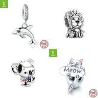 Originele 925 Sterling Zilver Charm Bead Love Pets Dog Cat Paw Print Panda Hanger Charms Fit Pandora Armbanden Dames DIY Sieraden 1092 T2