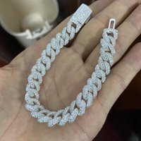 Ketten Meisidian 6 - 24 Zoll 10mm Breite S925 Kubanische Kette Full out Vvs D MOISSANITE-Diamanten