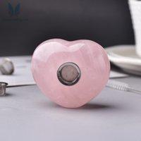 Природные розовые кварцевые сердца формы сердца портативные кристаллические трубы заживление табака курение