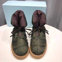 2021 novas mulheres almofadas plana para baixo calçados plataforma Botas de tornozelo de alta qualidade Impressão de inverno Falts Eiderdown Lace-Up Bota de neve com caixa 265