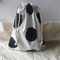 Gift Wrap 1pc Katoen Linnen Drawstring Georganiseerde Pouch Party Bag Print Big Black Dots White Base YL610D