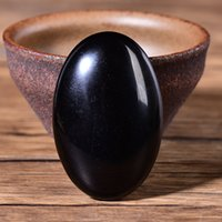 Obsidian Palm Stone Quartz Healing Crystal Massage Spa Avkoppling Meditation