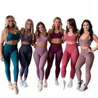Pantaloni da donna Capris Women Yoga Set Set di gilet solido traspirante + leggings fitness vestiti da corsa vestiti sexy Gym Top Sportswear Tights Tights Track
