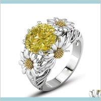 Band Ringe Sonnenblume Farbe Zirkon vergoldet Edelstein Kristall Ring High End Schmuck European American Fashion Frauen Geschenk Großhandel 2c