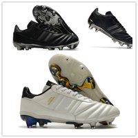 Mens Copa Mundial Couro FG Sapatos de Futebol Preto Branco Desconto Futebol Cleaves Copa do Mundo Botas de Futebol Tamanho 39-45