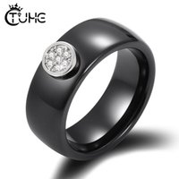 Wedding Rings Classic Black White Colorful Ring Ceramic For Women With Crystal Band Width 8 6mm Size 6-12 Gift Men Couple