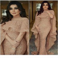 Designer Bling Mermaid Evening Gowns with Long Cape Glitter Glued Lace Illusion Arabic Middle East Custom Made Plus Size Trumpet Prom Dress