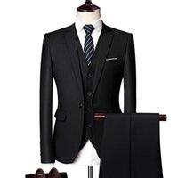 Men's Suits & Blazers LIFENWENNA Formal Business Wedding 3 Pieces Suit One-Buckle Dress Men Set Groom Tuxedos Jacket+Pants+Vest