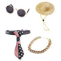 Moda gafas de mascotas collar sombrero conjunto de joyas gato perro gafas de sol mascotas gafas protectoras collares de cadena Juego de joyas
