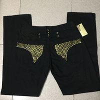 Mens Robin Rock Rock Ravival Jeans con pernos de cristal de oro Pantalones de mezclilla Pantalones de diseñador Pantalones de ala Clips Jean Tamaño 30-42