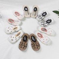 Verão Primavera Leopardo Soft Bottom Assoalho de Noite Meias Sólida Cor Criança Menina Menina Sapatos Com Solas De Borracha Transparentes Criança Bebê 1003 x2