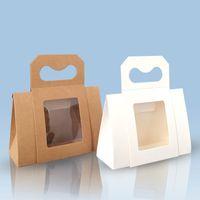 200Pcs Kraft paper Mini window small Box Portable Chinese blank gift box Tea Packing Box Wholesale