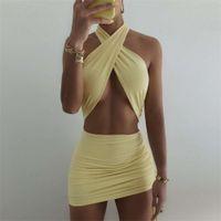 Jillperi Doble Capas Amarillo Amarillo Ajustable Halter Mini Mujeres Trajes Sexy Club Ruched Vacaciones Playa Vestidos de verano